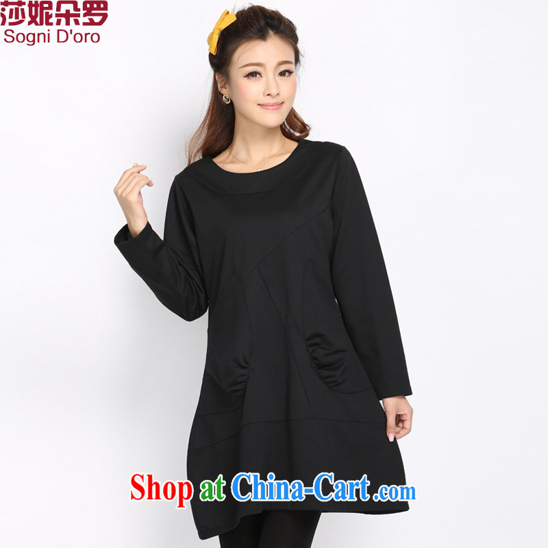 Laurie flower, XL girls decorated long-sleeved round-collar dresses 2014 fall and winter new Korean solid minimalist dress 5012 black 6 XL