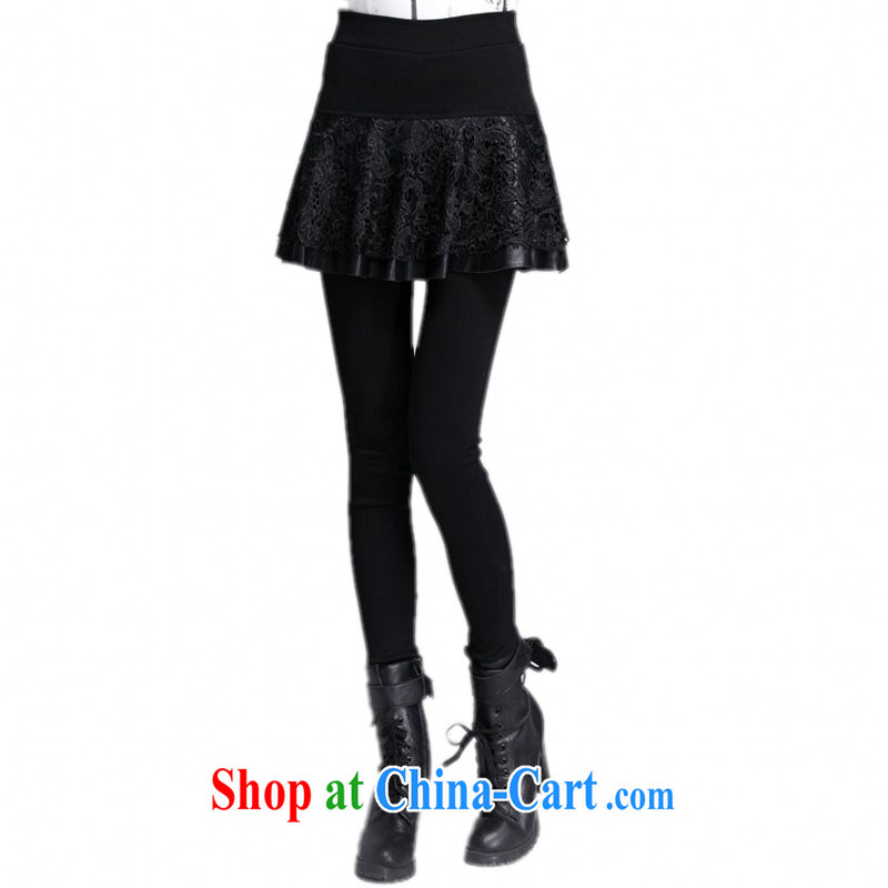 The delivery package as soon as possible-mm thick Korean XL upscale lace skirt pants mini skirts stretch thick and lint-free cloth warm solid pants Bonfrere looked video thin black XL approximately 115 - 135 jack