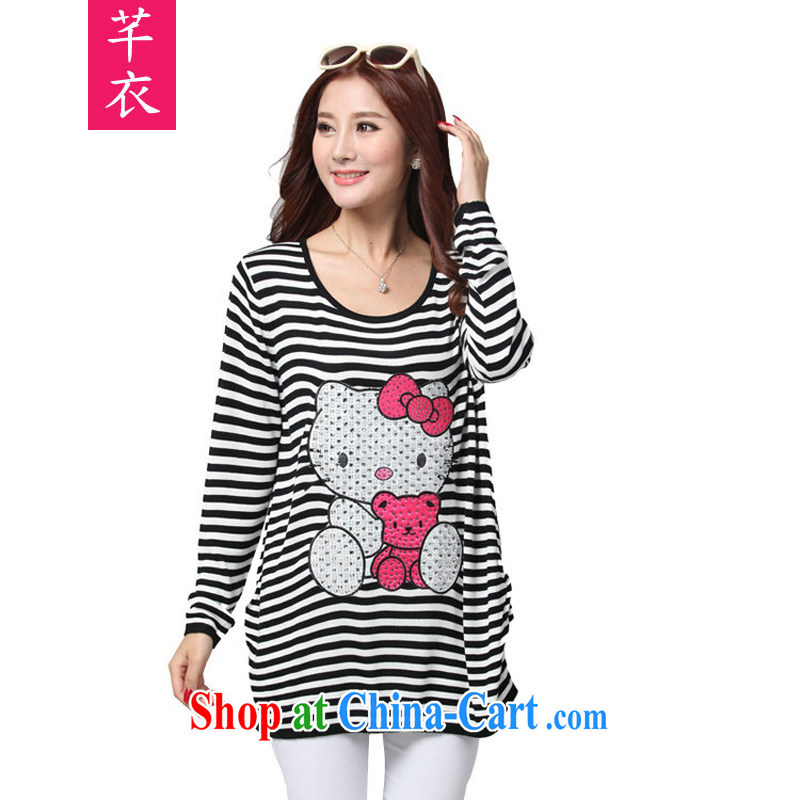 Constitution and clothing increased, ladies' long-sleeved shirt T 2015 new spring loaded cute little cats cat Chow, sweet temperament autumn stripe T-shirt thick sister knitting T shirt black-and-white streaks the code