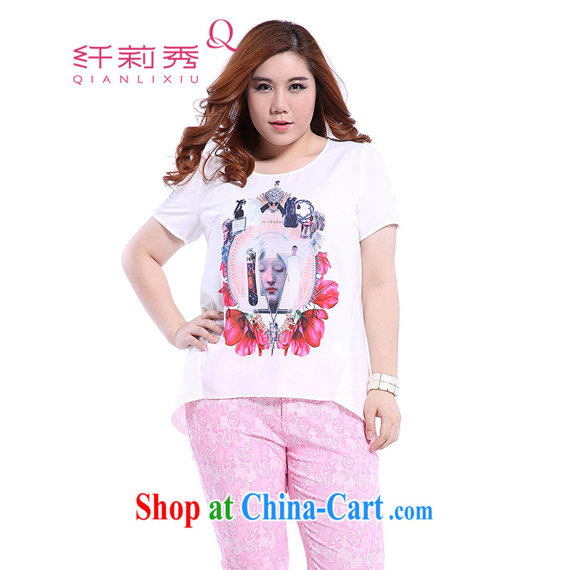 Slim Li-su summer 2014 new larger female leisure 100 Ground Sense future stamp duty is not rules, with snow woven shirts Q 5793 white L