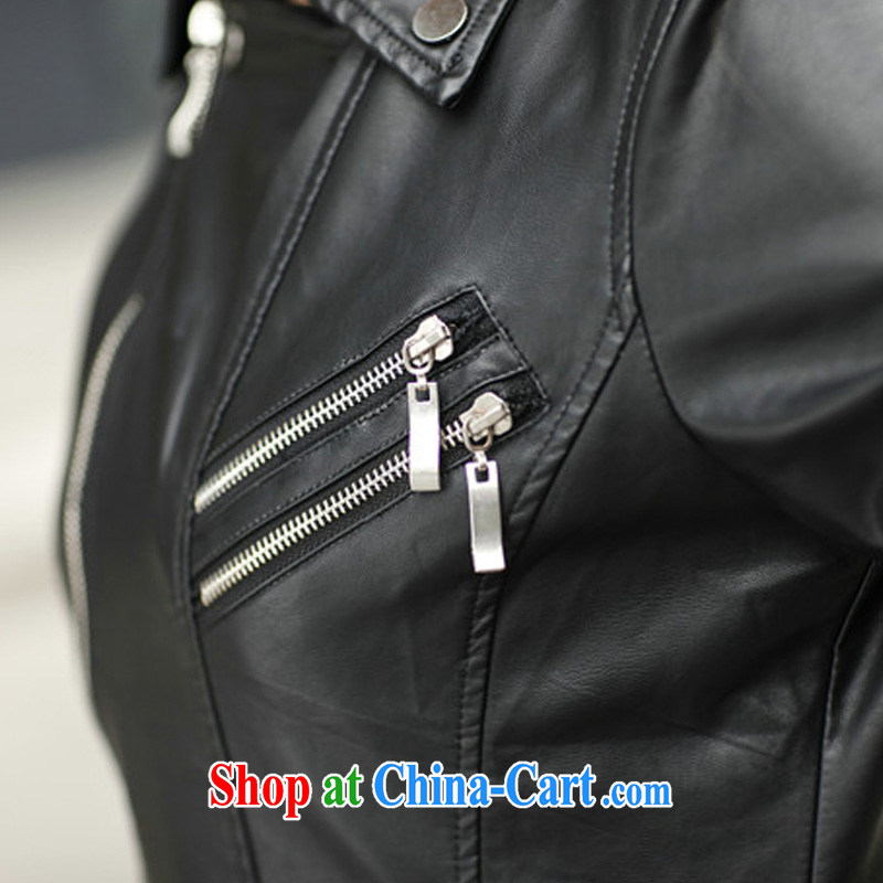 2014 autumn and winter, XL girls thick mm stylish sexy PU leather jacket in Europe and long-sleeved leather jacket short, cultivating small jacket and cotton XXXXXL, Biao (BIAOSHANG), the Code women's clothing, and shopping on the Internet