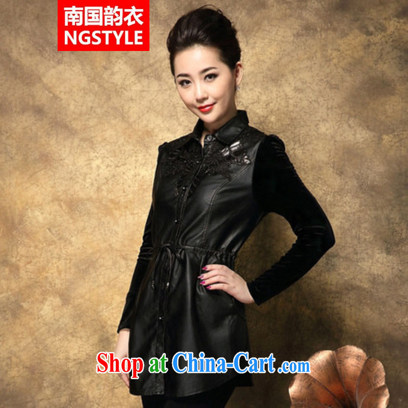 Xiao Nan Guo Yun Yi gift spring 2015 burglary, female summer jacket new gold velour name cache in the wind older female black XXXXL