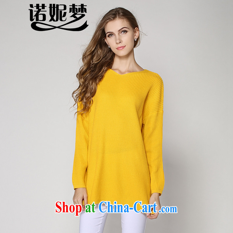 Connie's dream 2014 autumn and winter, the load is increased, female 200 European and American Jack minimalist V collar long-sleeved sweater Solid Color loose video thin knitted sweater 2006 yellow XXXXL
