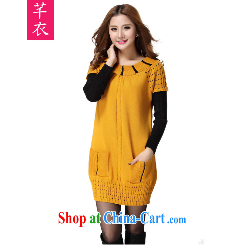 Constitution Yi, 2015 and indeed XL women mm thick load fall short skirts thick sister loose sweater knit-leave of two part video thin long-sleeved dresses yellow large code are code