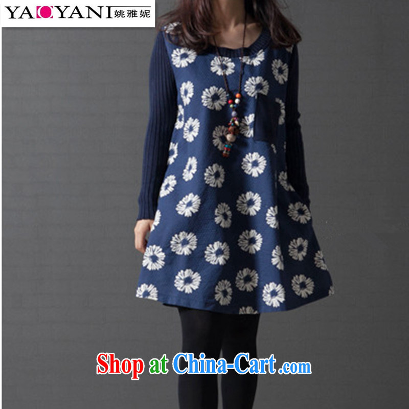 Yao her 2014 fall and winter new loose the Code women Ethnic Wind cotton the Stamp Duty stitching knitting long-sleeved dresses blue Sun Flower XXL
