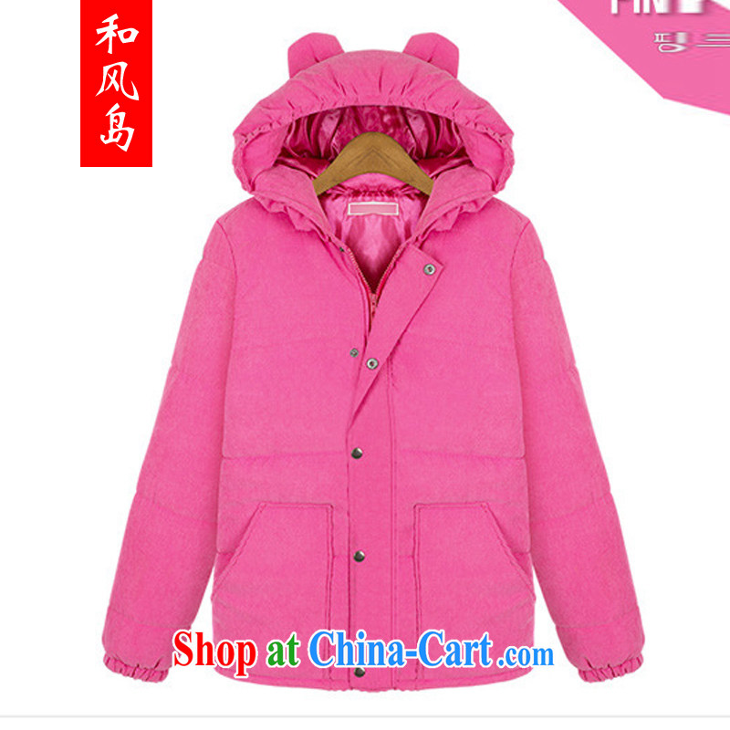 Island wind 2014 winter clothing in Europe and America, the female thick MM graphics thin girls decorated in thick sections, quilted coat jacket 98,182 pink XL