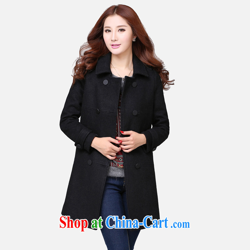 Cloud the larger female 2014 winter New new Korean version? The coat thick MM loose video thin hair? jacket black 5 XL