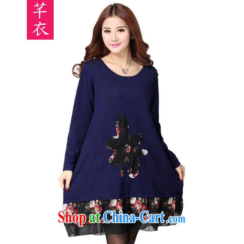 Constitution Yi Korean version 2015 autumn and winter new XL girls thick mm leisure loose stamp leave two stylish and beautiful lady long-sleeved knitted dress royal blue large code are code