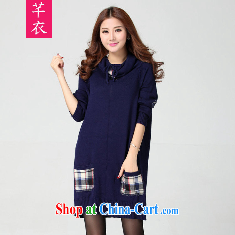 Constitution, autumn and winter 2015 new thick sister female increased in Europe and America, wind of aristocratic ladies style long-sleeved plaid heap heap for long, package and knitted T-shirt, blue the code are code
