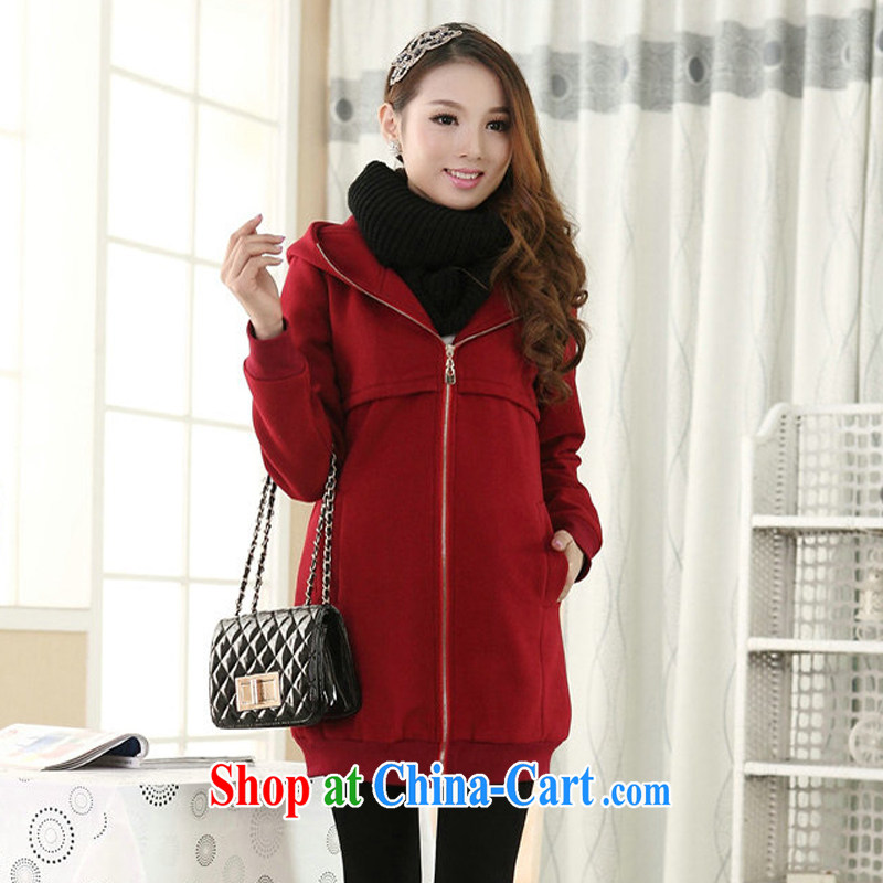 King, women fall 2014 winter clothing new thick MM jacket thicken the lint-free cloth obesity sister graphics thin, sweater red 5 XL