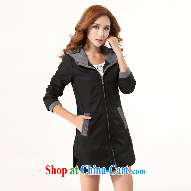 The fat XL windbreaker 2014 autumn and winter new expertise in mm long, Korean video thin coat 200 Jack Black 5 XL