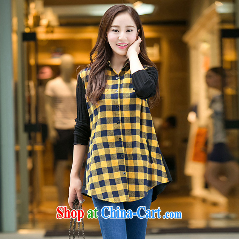 King, female 2014 autumn and winter new cotton graphics thin checkered shirt and indeed increase 200 Jack mm thick shirt yellow 5 XL