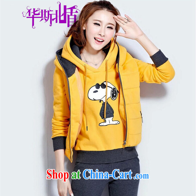 New winter clothes cartoon sweater 3 piece set the lint-free cloth thick aura beauty graphics thin female Korean version of the greater code female sport and leisure T-shirt vest pants Kit yellow XXL