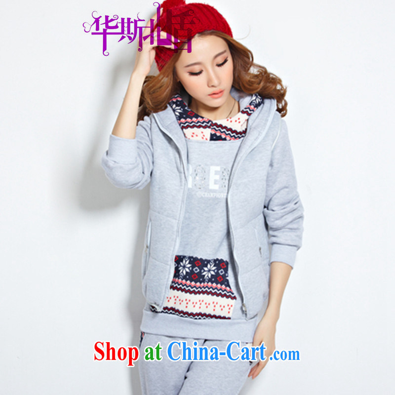 fall and winter new college-style charm beauty graphics thin the lint-free cloth thick knitting hot stamp duty drill T-shirt jacket, a trousers 3-Piece female light gray XXXL