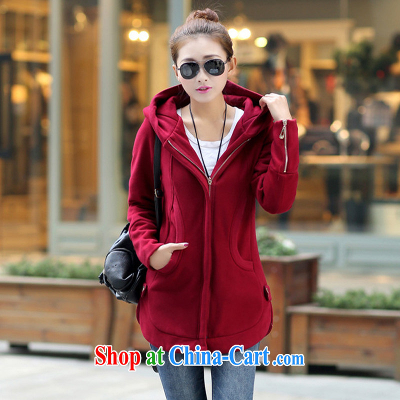 The Code's 2014 fall and winter new thick MM and indeed XL sweater, long, Korean TV jacket women's clothing wine red 6 XL