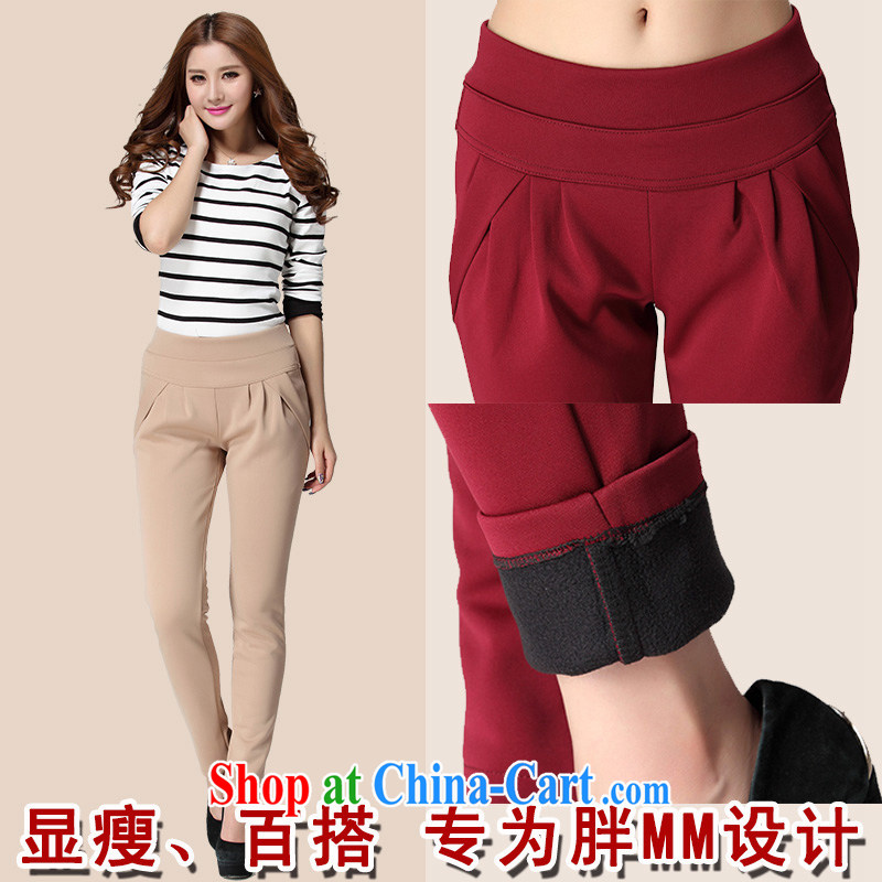 Land is the Yi 2015 spring new graphics thin warm XL fat people dress graphics thin, the fat and the lint-free cloth thick castor solid pants pants card its color 3XL