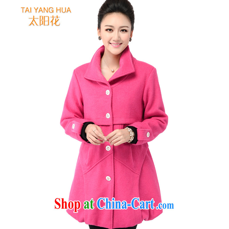 The Sun spend winter 2014 with new, larger female thick sister Korean leisure relaxed thick, long hair, then Coat 6135 pink 6 XL large number beauty