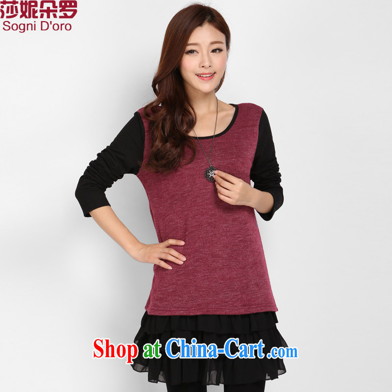 Elizabeth Anne flower, XL ladies dress thick sister winter clothing Korean knit sweater skirt video thin, 3102 maroon 6 XL