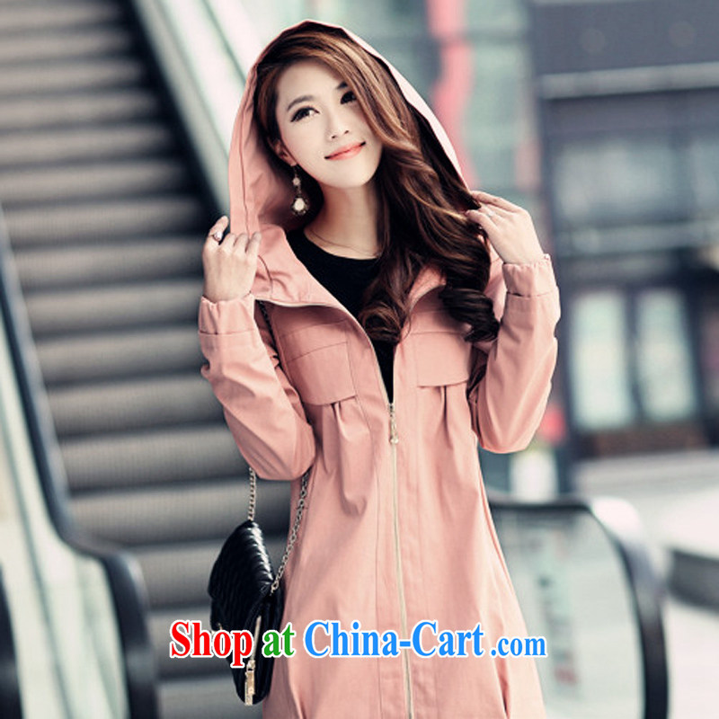 The Code's 2014 fall and winter new thick MM XL-yi, long-sleeved loose windbreaker 220 Jack jacket pink 6 XL