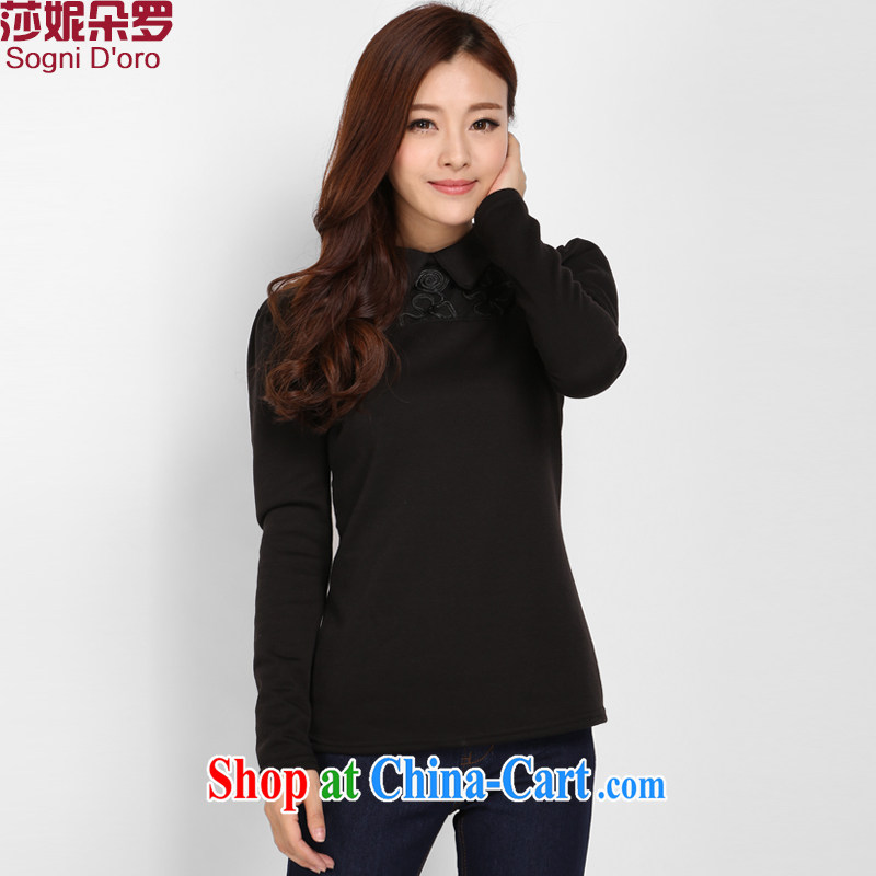 Laurie flower Luo, female solid T-shirt girls and lint-free cloth thick 200 Jack thick sister winter clothes and indeed increase graphics thin shirt T shirts women 3103 elegant black 5 XL the lint-free cloth warm - skin care