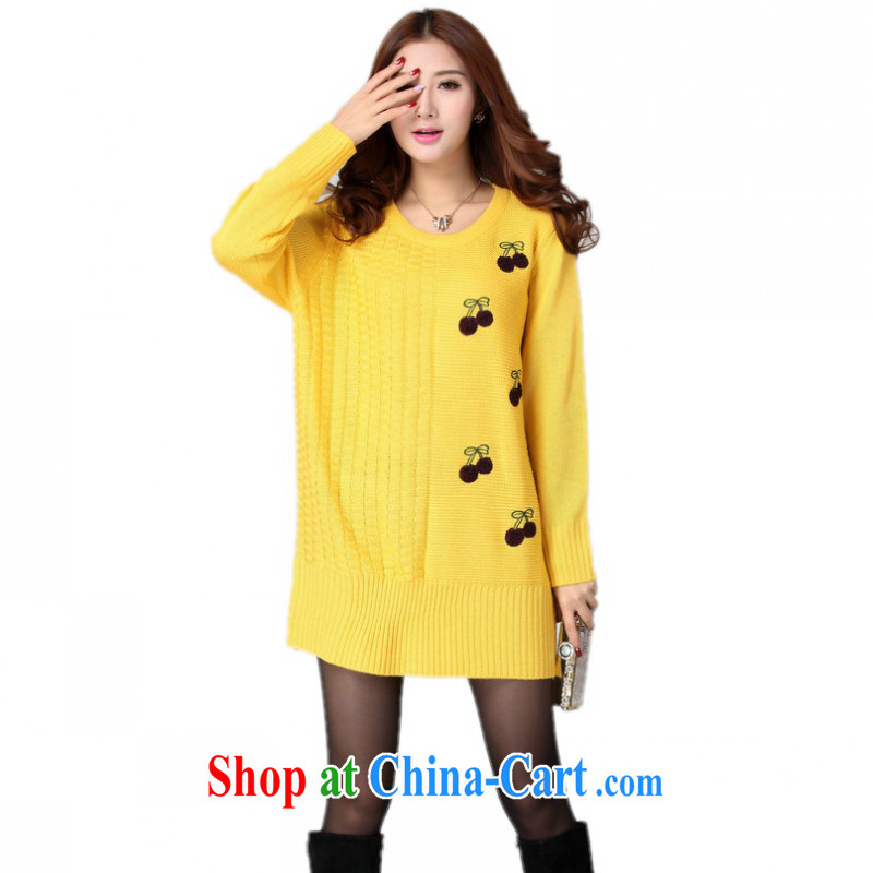 The delivery package as soon as possible-thick mm XL clothing simple and casual Fashion Sweater skirt long-sleeved loose, knocked color tile dresses video yellow are code for 120 - 180 jack