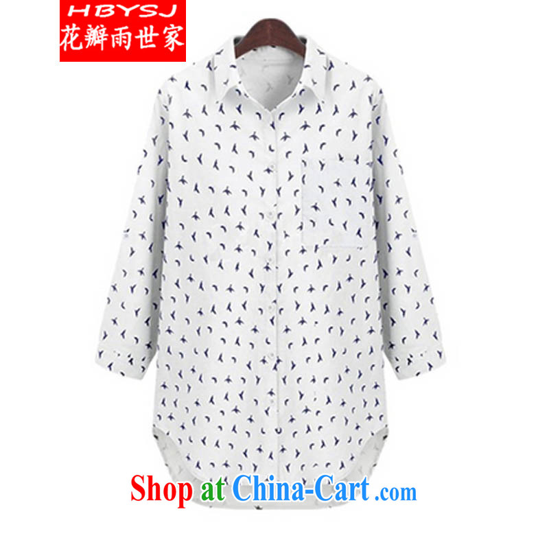 Petals rain family fall 2014 with the Code women mm thick loose stamp small pattern long floral shirt 5812 white XXXXXL