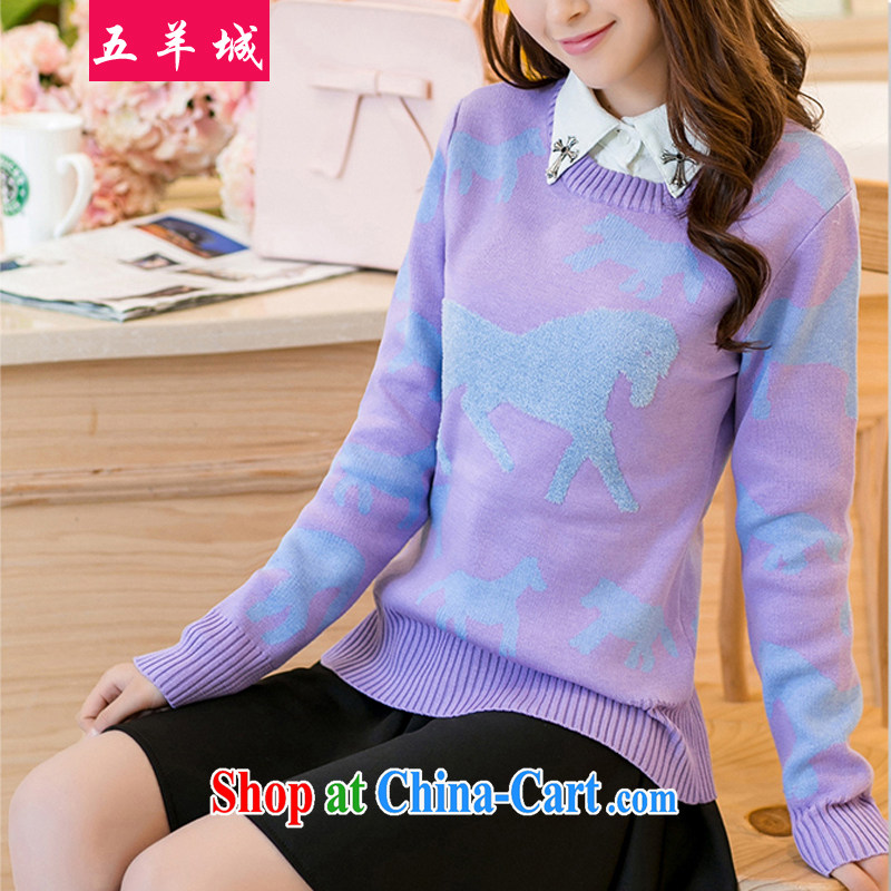 Five Rams City and indeed XL sweater larger female Korean version thick MM lapel dolls mighty code knitted T-shirt sweater fall/winter solid long-sleeved T-shirt 150 light purple 2182 XXXL/recommendations 160 - 190 jack