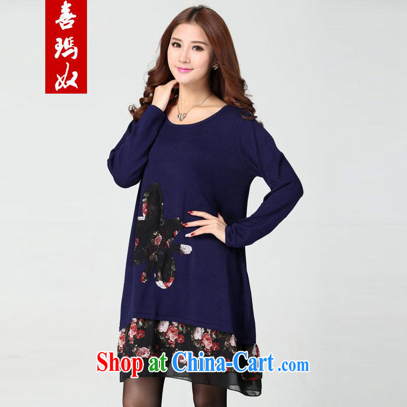 Hi Princess slave new, larger women loose video thin stretch-waist style, with long-sleeved round-collar hit color dress skirt solid D 3115 Po large blue code are code 140 - 200 jack wear