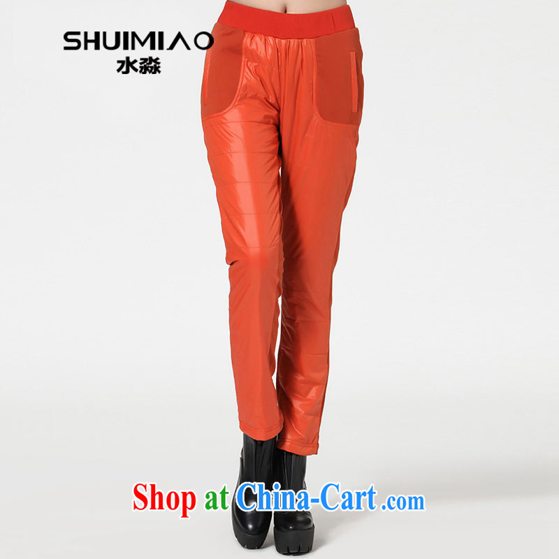 Water with the Code women autumn 2014 new thick sister stylish stitching leisure pant loose K 1487 orange XXL