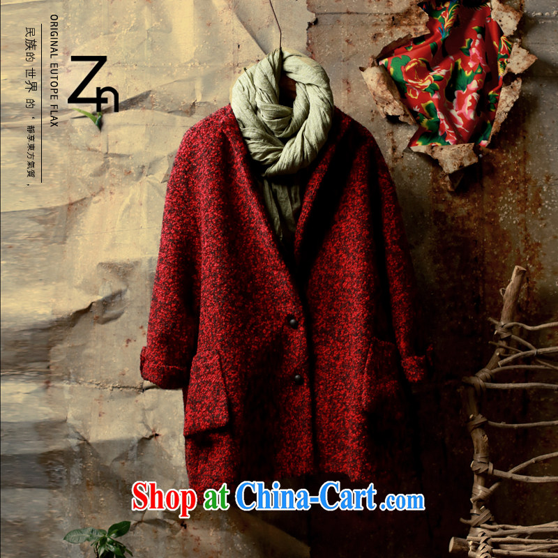 Winter ZN new retro wool wool coat is stylish and compact the original Chinese, with design female unique temperament gas, loose model, neck jacket wine red XL