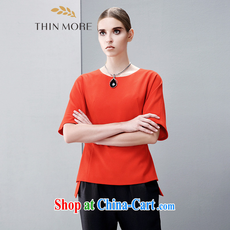 The wheat high-end large Code women spring 2015 new, mm thick loose 5 sub-cuff waist Casual Shirt 85136111 orange 4 XL