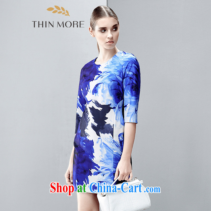 The wheat high-end large Code women spring 2015 new mm thick aura beauty stamp dress 851101723 blue 4 XL