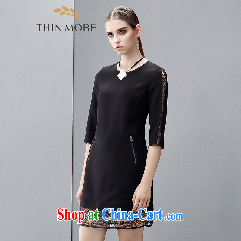 The wheat high-end large Code women 2015 spring new thick mm Korean version has been in the barrel cuff dress 851102722 black 3 XL
