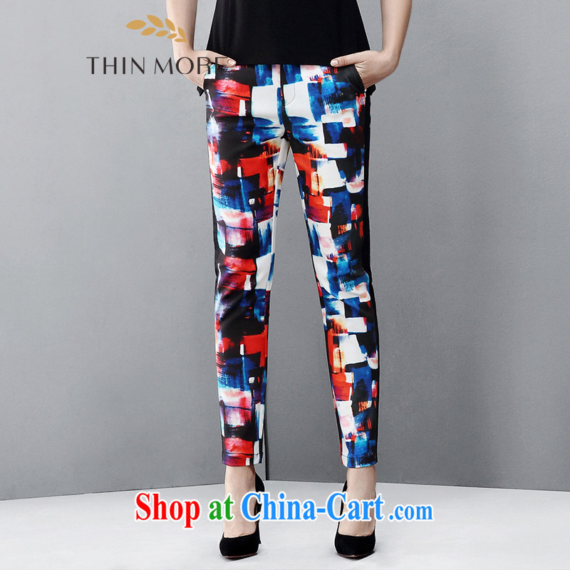 The wheat high-end large Code women spring 2015 new thick mm stylish knocked color stamp beauty trousers 851091510 red stamp 4XL
