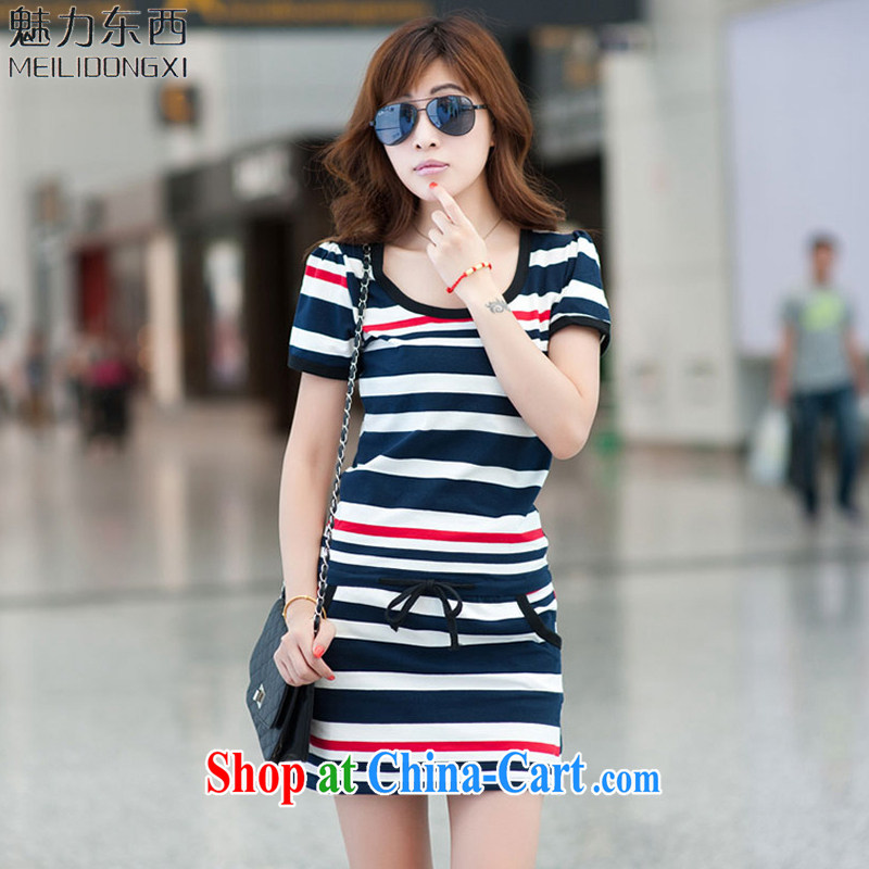 What charm summer 2015, the Code women dresses new dresses women T 837 blue and white striped short-sleeved XXXXL