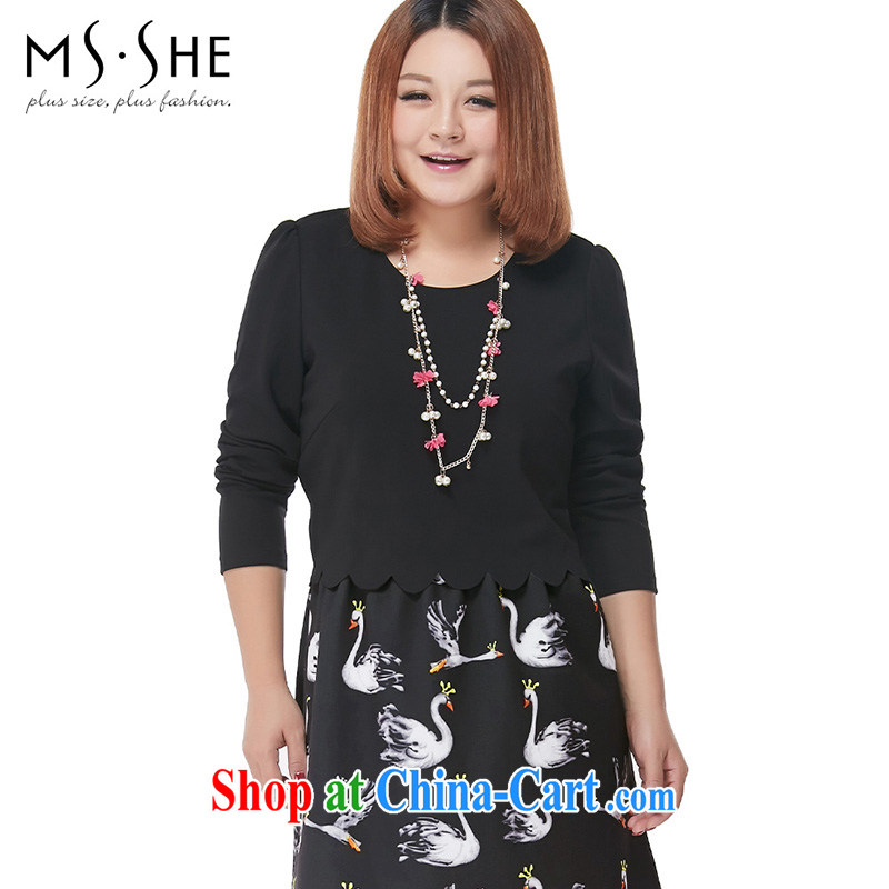 MsShe XL ladies' 2014 autumn and winter mm thick embossed graphics thin leave two temperament dress 2235 black 5 XL