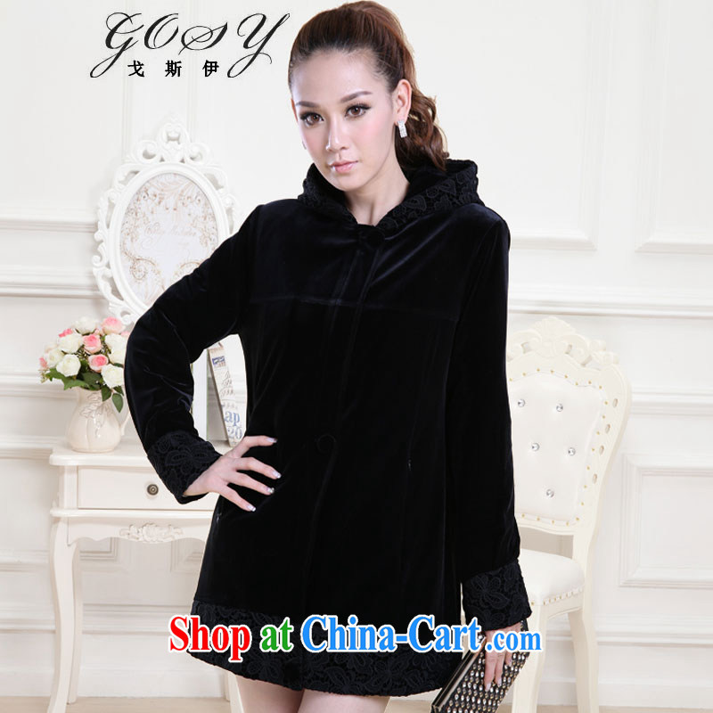 Goss _GOSY_ 2014 winter clothing new, larger women's coats-cap stitching water-soluble flower wool cotton suit black XXXL