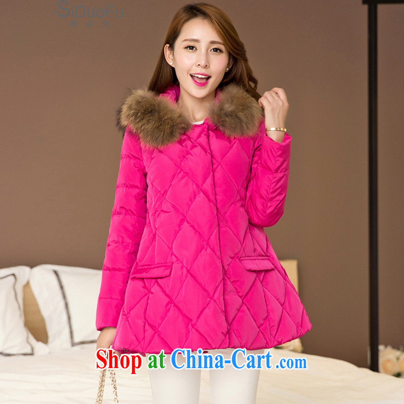 The flower, 2015 winter clothing new products, female A Field thick coat-Nagymaros collar, long jacket female SD of 759 red XXXXL not available
