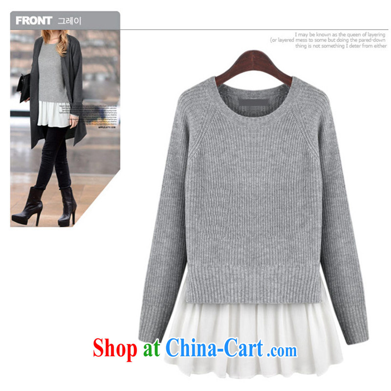 The delivery package as soon as possible the wind in Europe and increase code sweaters stylish simplicity and relaxed atmosphere, gagged them knitted T-shirt graphics thin thick mm false Two-piece a gray 4 XL approximately 160 - 170 jack
