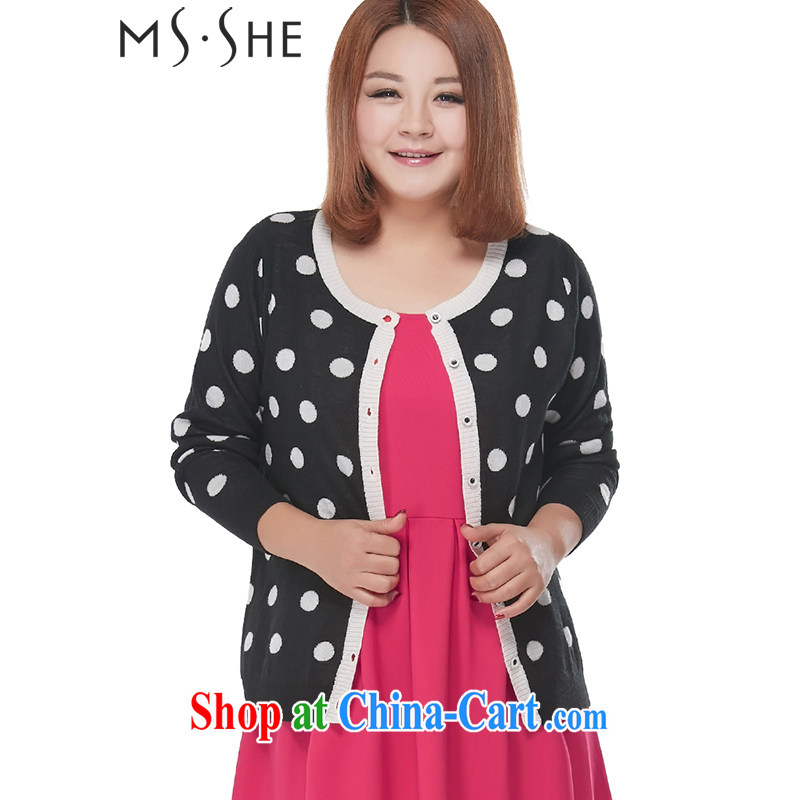 MSSHE XL ladies' 2015 spring elegant 100 Ground Plane Collision color wave point round-collar long-sleeved sweater cardigan clearance 2287 black and white dots 4 XL