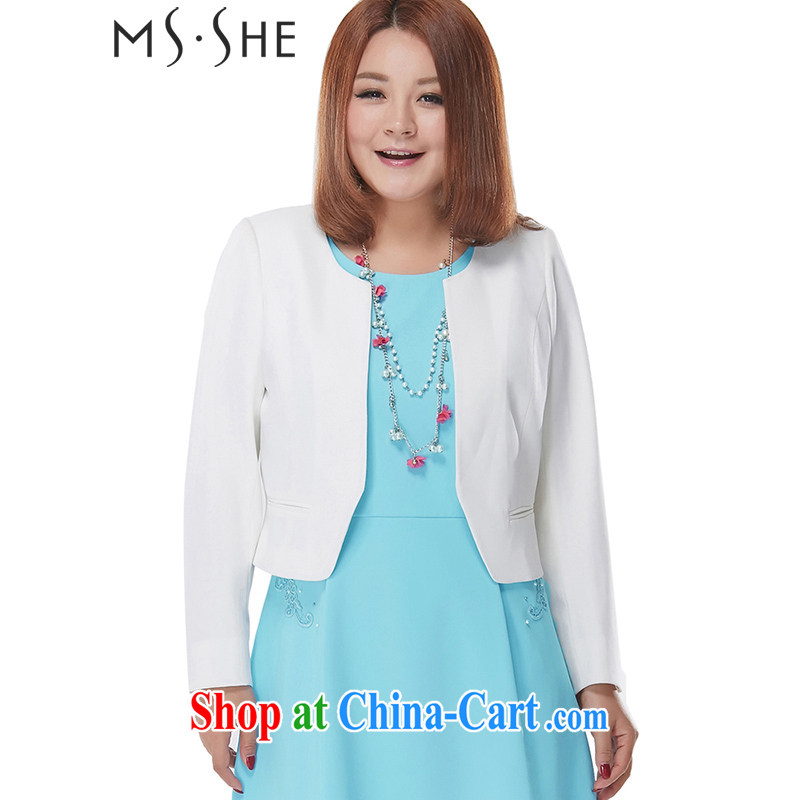 MSSHE XL ladies' 2015 new spring commute round-collar graphics thin beauty short small jacket 2458 white 6 XL