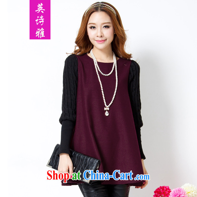 Poetry, Mrs Carrie Yau, 2014 autumn and winter, the larger female and indeed intensify, Korean small shirt loose video thin long-sleeved thick sweater solid shirt 881 dark red XXXXXL