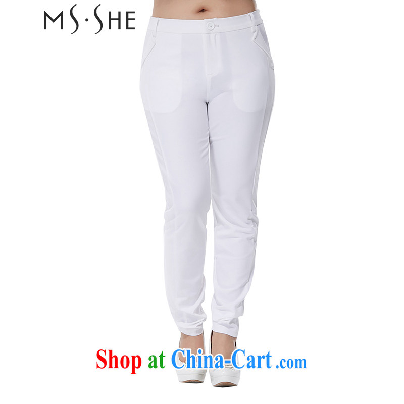 MSSHE XL ladies' 2015 new summer graphics thin solid castor pants, waist trousers 2493 white T 5