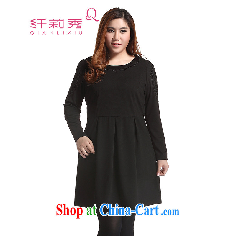 Slim LI Sau 2014 autumn and winter new large, stylish women's clothing sweet bubble cuff hit the stitching on the embroidery graphics thin A swing dresses Q 6322 black 3 XL