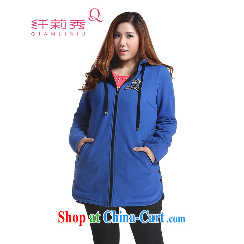 Slim LI Sau 2014 autumn and winter new larger female knocked the CAP personalized skeleton thick warm long sweater jacket Q 6650 blue L