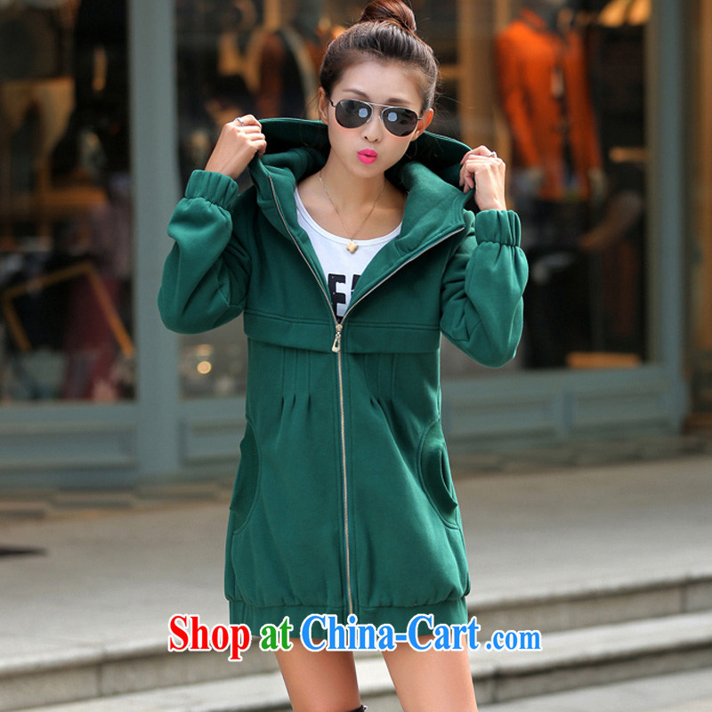 The Code's 2014 fall and winter new mm thick Korean thick sweater jacket women's clothing 200 Jack larger sweater girl green 6 XL