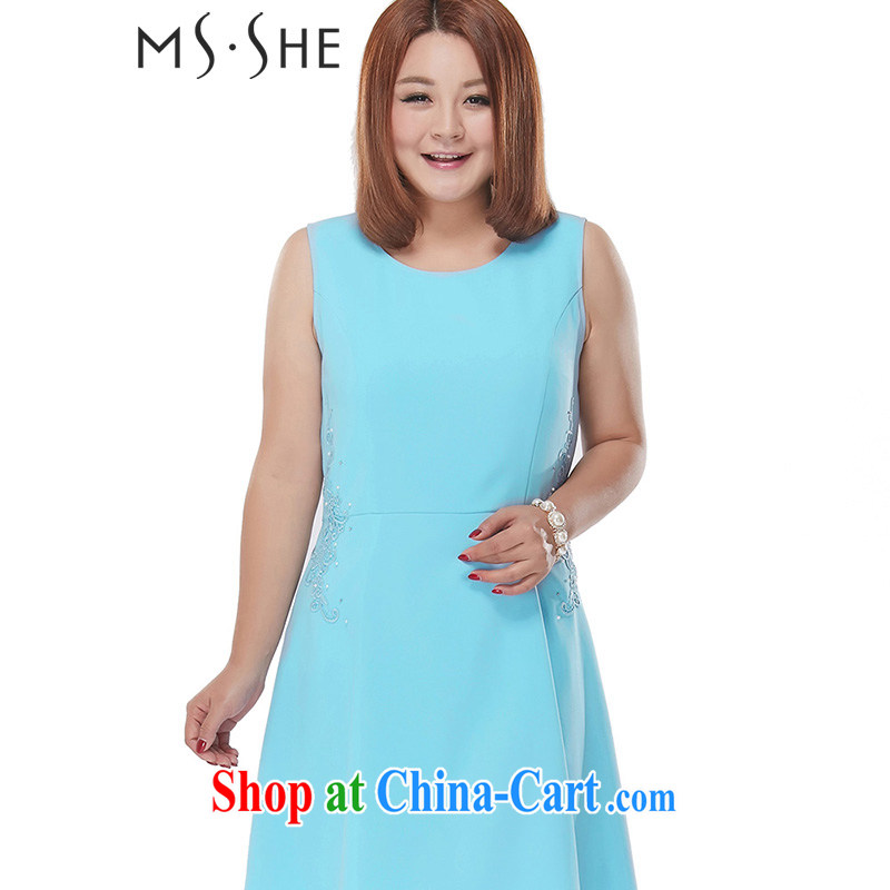 MSSHE XL ladies 2015 new summer decoration, A with embroidered pin Pearl round-collar dress sleeveless vest skirt 2499 light blue 6 XL