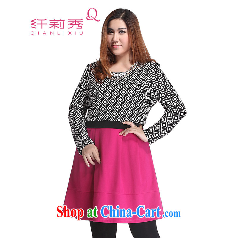 Slim Li-su 2014 autumn and winter new large, stylish decorated women who leave two Republika Srpska geometry long-sleeved video slim skirts dresses Q of 6391 red 4 XL