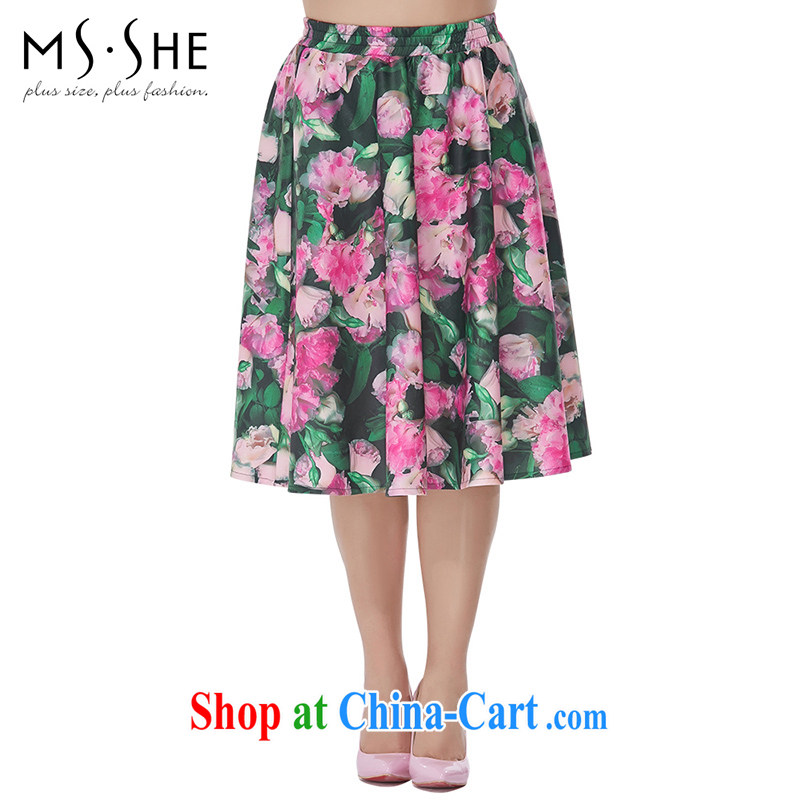 MsShe XL girls 2015 new summer thick MM retro stamp A with relaxed body skirt suit 2519 T 6
