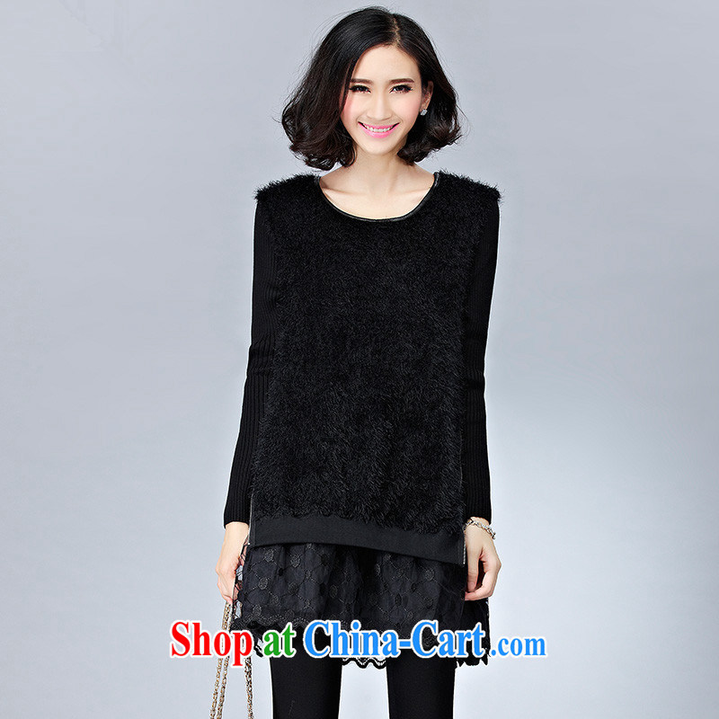 XL female autumn and winter shirts solid 2014 mm thick Korean loose video thin leave of two T-shirts fat sister and indeed XL video thin thick mm solid sweater black XXXL